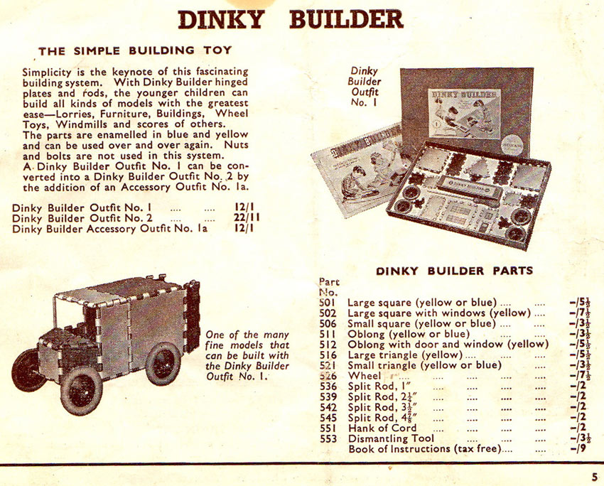 Meccano products ctalogue 1952 Dinky Builder
